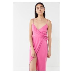 Urban Outfitters Quinn Wrap Midi Dress Pink